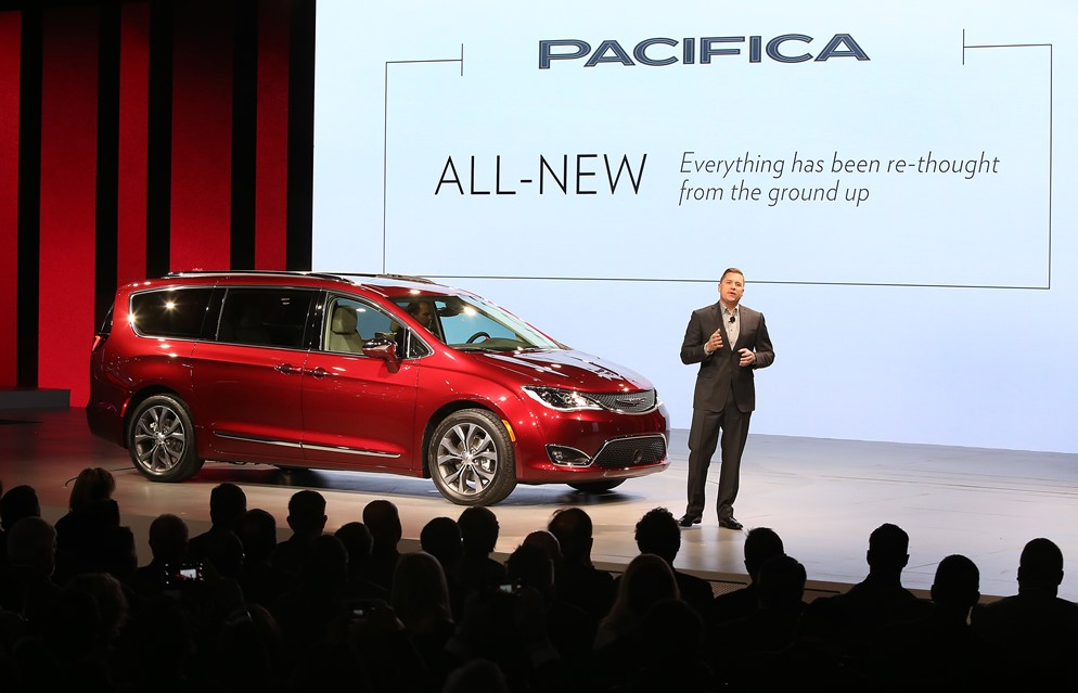 Detroit – January 11, 2016 – Tim Kuniskis, Head of Passenger Car Brands, FCA - North America, unveiled the all-new 2017 Chrysler Pacifica at the North American International Auto Show. Reinventing the minivan segment the company created more than 30 years ago, the 2017 Pacifica delivers unparalleled levels of functionality, versatility and technology, bold new styling and 37 segment-first innovations. For more information contact Rick Deneau 248-512-2694 or Angela Bianchi 248-512-0011.