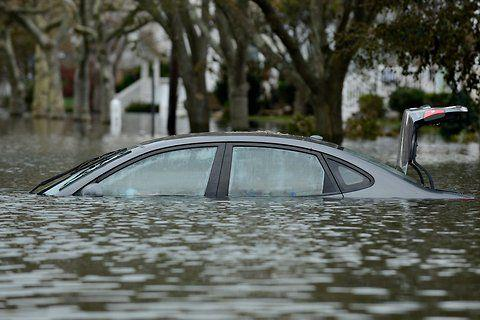 Cars flooded from Hurricane Sandy