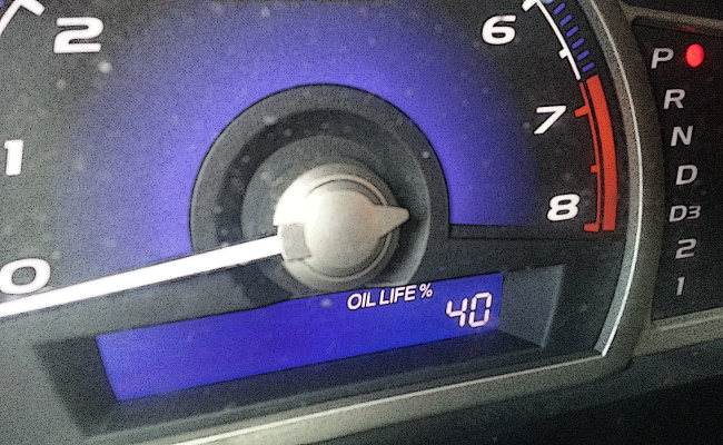 oil change indicator percentage